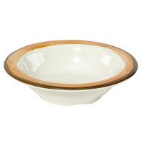 GET B-454-DI-KNO Kanello 4.5 oz. Diamond Ivory Wide Rim Melamine Bowl with Kanello Orange Edge - 48/Case