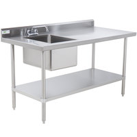 Regency 30 inch x 48 inch 16 Gauge Stainless Steel Work Table with Sink