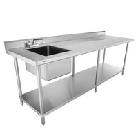 Regency 30 inch x 96 inch 16 Gauge Stainless Steel Work Table with Sink