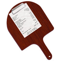 Menu Solutions WDPPCP 9 inch x 5 inch Customizable Mahogany Pizza Peel Clipboard Check Presenter