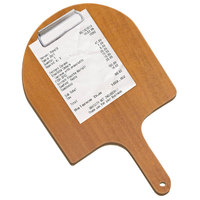 Menu Solutions WDPPCP 9 inch x 5 inch Customizable Country Oak Pizza Peel Clipboard Check Presenter
