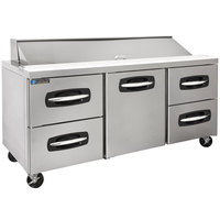 Master-Bilt MBSP72-18A-005 72 inch 1 Middle Door 4 Drawer Refrigerated Sandwich Prep Table