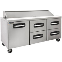 Master-Bilt MBSP72-18A-006 72 inch 1 Left Door 4 Drawer Refrigerated Sandwich Prep Table