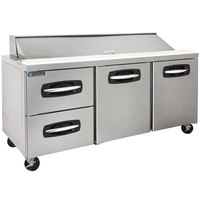 Master-Bilt MBSP72-18A-003 72 inch 2 Right Door 2 Drawer Refrigerated Sandwich Prep Table