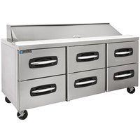 Master-Bilt MBSP72-18A-001 72 inch 6 Drawer Refrigerated Sandwich Prep Table