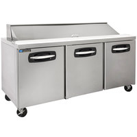 Master-Bilt MBSP72-18A 72 inch 3 Door Refrigerated Sandwich Prep Table