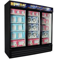 Master-Bilt MBGFP74-HG-B Fusion Plus 78 inch Black Glass Door Merchandiser Freezer with LED Lighting