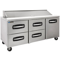 Master-Bilt MBSP72-18A-007 72 inch 1 Right Door 4 Drawer Refrigerated Sandwich Prep Table