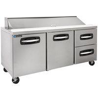 Master-Bilt MBSP72-18A-002 72 inch 2 Left Door 2 Drawer Refrigerated Sandwich Prep Table