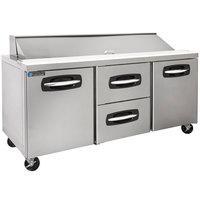 Master-Bilt MBSP72-18A-004 72 inch 2 Side Door 2 Drawer Refrigerated Sandwich Prep Table