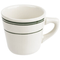 Tuxton TGB-001 Green Bay 7 oz. Eggshell China Tall Cup with Green Bands - 36/Case