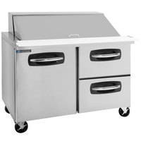 Master-Bilt MBSMP48-18A-002 48 inch 1 Left Door 2 Right Drawer Mega Top Refrigerated Sandwich Prep Table