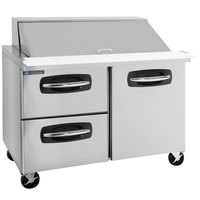 Master-Bilt MBSMP48-18A-003 48 inch 1 Right Door 2 Left Drawer Mega Top Refrigerated Sandwich Prep Table