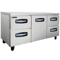 Master-Bilt MBUR72A-005 72 inch Fusion Undercounter Refrigerator with 1 Middle Door and 4 Side Drawers
