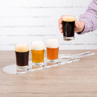 Acopa Tasting Flight Set - 4 Pub Sampler Glasses with Drop-In Acrylic Taster Paddle
