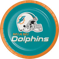 Creative Converting 419517 Miami Dolphins 7 inch Luncheon Paper Plate - 96/Case