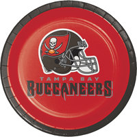 Creative Converting 419530 Tampa Bay Buccaneers 7 inch Luncheon Paper Plate - 96/Case