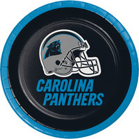Creative Converting 419505 Carolina Panthers 7 inch Luncheon Paper Plate - 96/Case