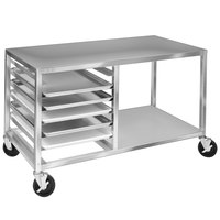 Channel MW245/S 5 Pan End Load Undercounter Stainless Steel Prep Top Sheet / Bun Pan Rack with Open Shelf - Assembled