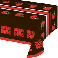 Creative Converting 316652 Cleveland Browns 54 inch x 102 inch Plastic Table Cover - 12/Case