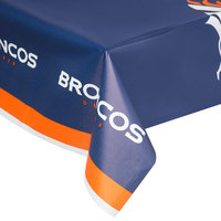 Creative Converting 729510 Denver Broncos 54 inch x 102 inch Plastic Table Cover - 12/Case