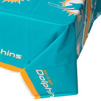 Creative Converting 729517 Miami Dolphins 54 inch x 102 inch Plastic Table Cover - 12/Case