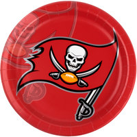 Creative Converting 429530 Tampa Bay Buccaneers 9 inch Paper Dinner Plate - 96/Case