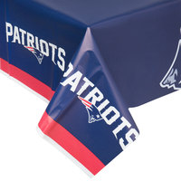 Creative Converting 729519 New England Patriots 54 inch x 102 inch Plastic Table Cover - 12/Case