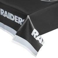 Creative Converting 729523 Oakland Raiders 54 inch x 102 inch Plastic Table Cover - 12/Case