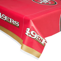 Creative Converting 729527 San Francisco 49ers 54 inch x 102 inch Plastic Table Cover - 12/Case