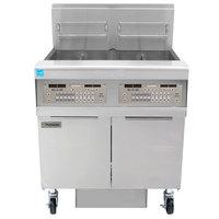 Frymaster FPPH255 Liquid Propane 100 lb. 2 Unit High-Efficiency Gas Floor Fryer System with SMART4U 3000 Controls - 160,000 BTU
