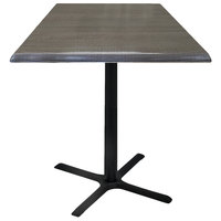 Holland Bar Stool OD211-3030BWOD36SQCha 36 inch Square Charcoal Outdoor / Indoor Standard Height Table with Cross Base