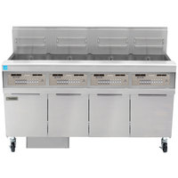 Frymaster FPPH455 Natural Gas 200 lb. 4 Unit High-Efficiency Gas Floor Fryer System with SMART4U 3000 Controls - 320,000 BTU