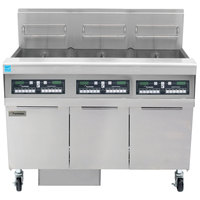 Frymaster FPPH355 Natural Gas 150 lb. 3 Unit High-Efficiency Gas Floor Fryer System with CM3.5 Controls - 240,000 BTU
