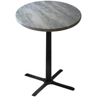 Holland Bar Stool OD211-3030BWOD30RGryS 30 inch Round Greystone Outdoor / Indoor Standard Height Table with Cross Base