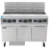 Frymaster FPPH355 Natural Gas 150 lb. 3 Unit High-Efficiency Gas Floor Fryer System with Digital Controls - 240,000 BTU