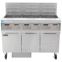 Frymaster FPPH355 Natural Gas 150 lb. 3 Unit High-Efficiency Gas Floor Fryer System with SMART4U 3000 Controls - 240,000 BTU