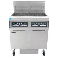 Frymaster FPPH255 Natural Gas 100 lb. 2 Unit High-Efficiency Gas Floor Fryer System with CM3.5 Controls - 160,000 BTU