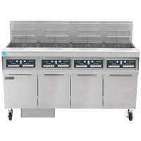 Frymaster FPPH455 Natural Gas 200 lb. 4 Unit High-Efficiency Gas Floor Fryer System with CM3.5 Controls - 320,000 BTU