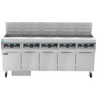 Frymaster FPPH555 Natural Gas 250 lb. 5 Unit High-Efficiency Gas Floor Fryer System with Digital Controls - 400,000 BTU
