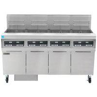 Frymaster FPPH455 Natural Gas 200 lb. 4 Unit High-Efficiency Gas Floor Fryer System with Digital Controls - 320,000 BTU