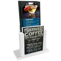 Menu Solutions WDMH-CHALK-WHITEWASH White Wash Wood Menu Holder with 4 inch x 6 inch Chalk Board Insert