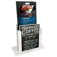 Menu Solutions WDMH-CHALK White Wash Wood Menu Holder with 4 inch x 6 inch Chalk Board Insert