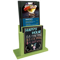 Menu Solutions WDMH-WET-LIME Lime Wood Menu Holder with 4 inch x 6 inch Wet Erase Board Insert