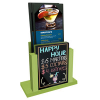 Menu Solutions WDMH-WET Lime Wood Menu Holder with 4 inch x 6 inch Wet Erase Board Insert