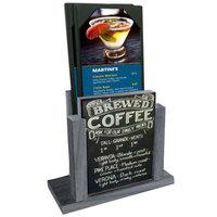 Menu Solutions WDMH-CHALK-ASH Ash Wood Menu Holder with 4 inch x 6 inch Chalk Board Insert