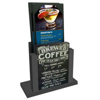 Menu Solutions WDMH-CHALK Ash Wood Menu Holder with 4 inch x 6 inch Chalk Board Insert