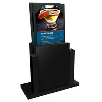 Menu Solutions WDMS-RI Black Wood Menu Holder with 4 inch x 6 inch Sheet Protector