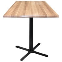 Holland Bar Stool OD211-3042BWOD36SQNat 36 inch Square Natural Outdoor / Indoor Bar Height Table with Cross Base