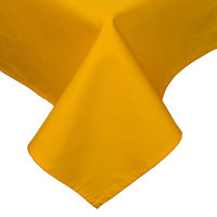 54 inch x 81 inch Gold Hemmed Polyspun Cloth Table Cover